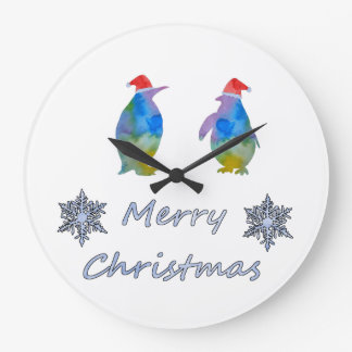 Christmas Penguins Large Clock