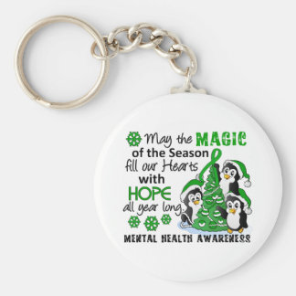Christmas Penguins Mental Health Basic Round Button Key Ring