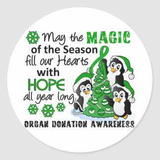Christmas Penguins Organ Donation Round Sticker