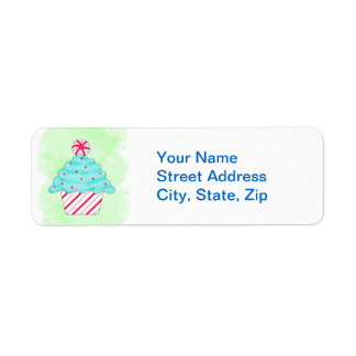 Christmas Pepperment Cupcake Green Custom Address Return Address Label