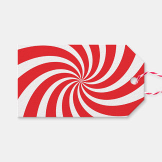 Christmas Peppermint Candy Cane Swirl Red Gift Tag