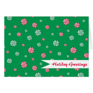 Christmas Peppermint Candy Green Holiday Greetings Card