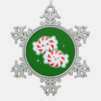 Christmas Peppermint Candy Pewter Snowflake Decoration