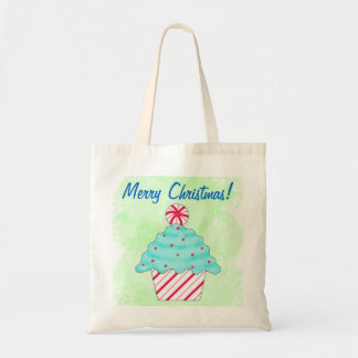 Christmas Peppermint Cupcake Art Green Shopping Budget Tote Bag