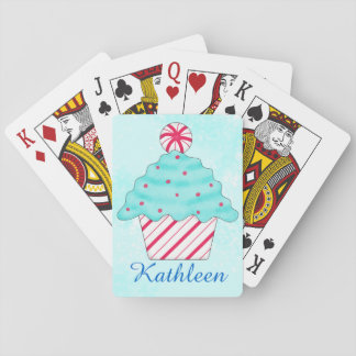 Christmas Peppermint Cupcake Art Poker Playing Cards