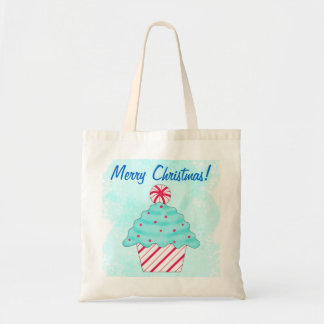 Christmas Peppermint Cupcake Reusuable Shopping Budget Tote Bag