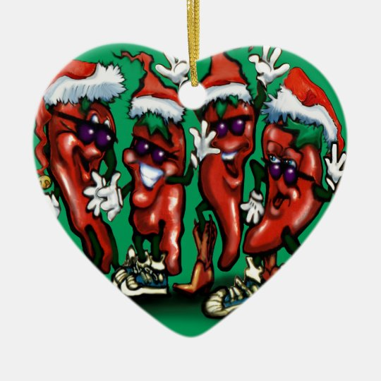 Christmas Peppers Ceramic Ornament