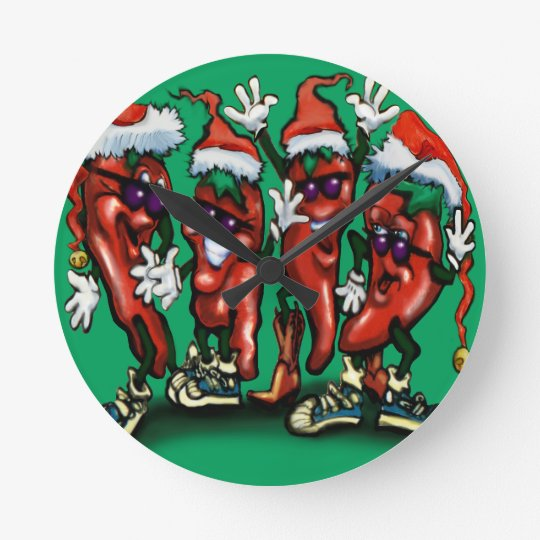 Christmas Peppers Round Clock