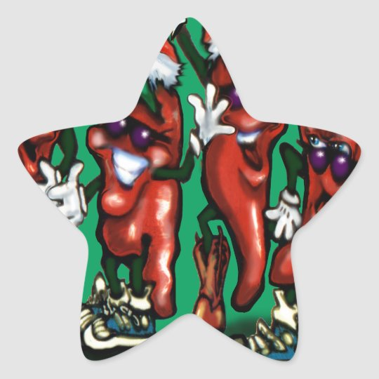 Christmas Peppers Star Sticker