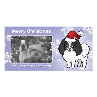 Christmas Phalene / Japanese Chin Custom Photo Card