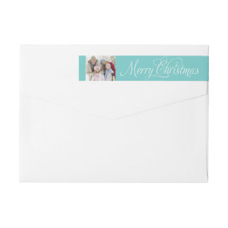 Christmas Photo | Blue Wrap Around Label