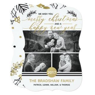 Christmas Photo Card, Faux Gold Foil Card