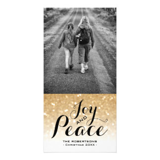 Christmas Photo Card Gold Ombre Glitter Joy Peace