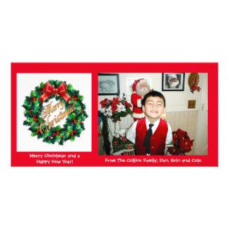 Christmas Photo card Holly Wreath