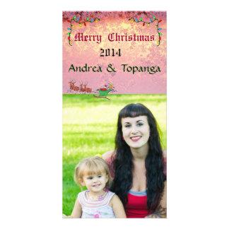 Christmas  Photo Card Pink Snow Flake