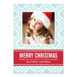Christmas Photo Card | Red and Blue Ikat Pattern 13 Cm X 18 Cm Invitation Card