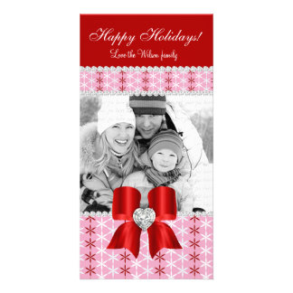 Christmas Photo Card Red Pink Snow Bow 3