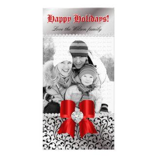 Christmas Photo Card Swirl Black Jewel Bow Red