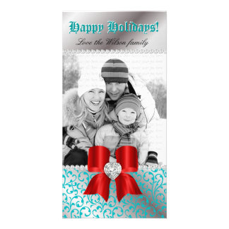 Christmas Photo Card Swirl Blue Jewel Bow Red