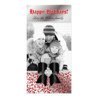 Christmas Photo Card Swirl Red Jewel Bow Black