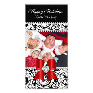 Christmas Photo Card Swirls Red Jewel Bow Black