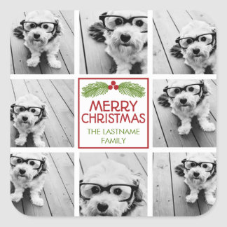 Christmas Photo Collage with Rustic Pine Square Sticker