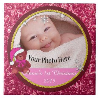 Christmas Photo Decoration - Girl Large Square Tile