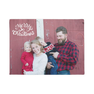 Christmas photo door mat, script typography doormat