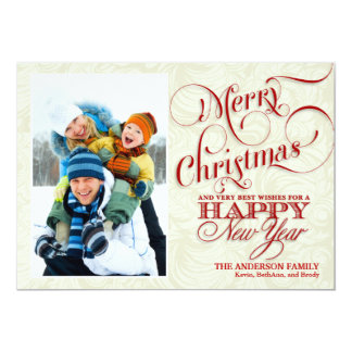 Christmas Photo Flat Card - Red & White 13 Cm X 18 Cm Invitation Card