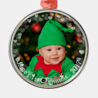 Christmas Photo Floating Hearts Ornament