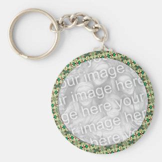 Christmas Photo Frame Basic Round Button Key Ring