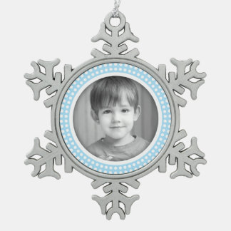 Christmas photo frame white and light blue border pewter snowflake decoration