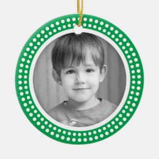 Christmas photo frame white dot snow border green round ceramic decoration