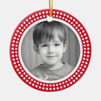 Christmas photo frame white dot snow border on red round ceramic decoration
