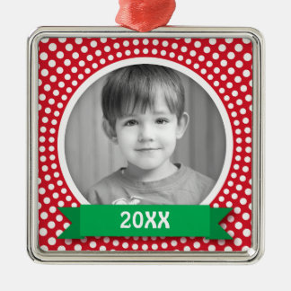 Christmas photo frame white dot snow border on red Silver-Colored square decoration