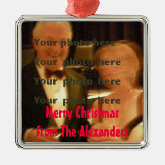 Christmas Photo Greeting Custom Silver-Colored Square Decoration