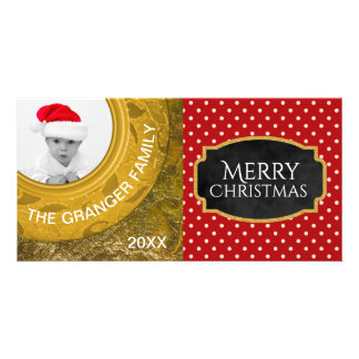 Christmas Photo Greeting | Red Polka Dot Gold Foil Personalised Photo Card