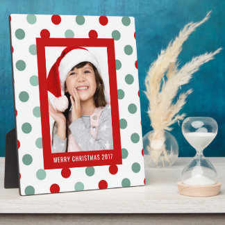 Christmas Photo | Holiday Teal & Red Polka Dots Plaque