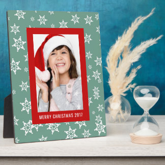 Christmas Photo | Holiday Teal Snowflake Design Plaque