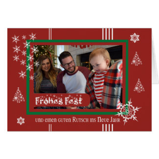 Christmas photo map white stars card
