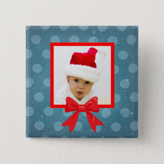 Christmas Photo Polka Dot Button with Red Bow