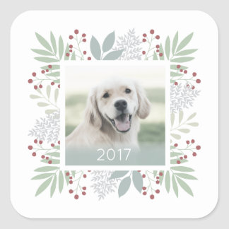 Christmas photo sticker leaves & berries | Square