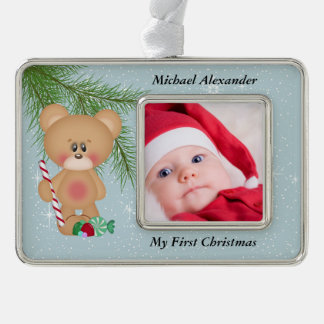 Christmas Photo with Teddy Bear and Candy Silver Plated Framed Ornament