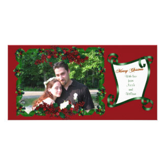 Christmas photocard green ribbon and holly personalized photo card