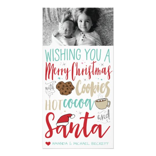 Christmas Photocard - Santa, Cookies, Hot Chocolat Card