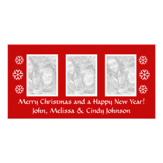 Christmas photocard template for three photos photo greeting card