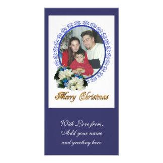 Christmas Photocard white poinsettias Custom Photo Card