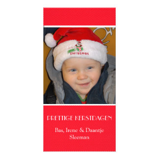 Christmas photograph card red edge personalised photo card