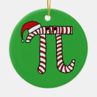 Christmas Pi Cartoon Math Geek Ceramic Ornament