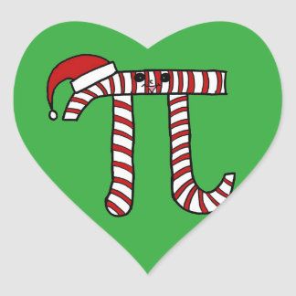 Christmas Pi Cartoon Math Geek Heart Sticker